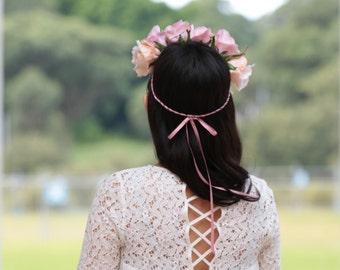Romantic Silk Pink Large Rose Flower Crown for Weddings Bridal Bridesmaidand Parties