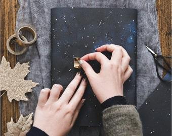 Night Sky Christmas Wrapping Paper - Christmas Gift Wrap - Celestial Christmas Wrap - Watercolour Gift Wrap - Luxury Galaxy Wrapping Paper