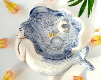Mermaid & Moon Ceramic Jewellery Dish Handmade Earthenware Keepsake Heirloom Housewarming Wedding Birthday Gift