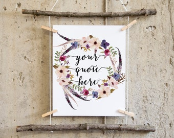best friend gift, mothers day gift, wedding gift, teacher gift, custom quote print, mindfulness gift, custom poem print, custom quote