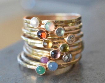 Birthstone Stacking Ring, Gemstone Ring, Mothers Ring, Gold Stack Ring SGRROS-G