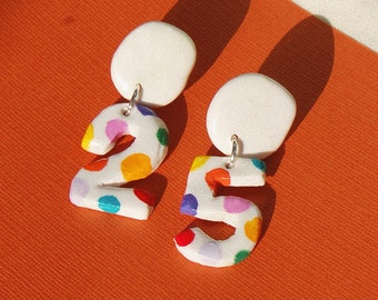 Birthday Earrings / Personalised Spotty Number Earrings / Anniversary Earrings / Polymer Clay Earrings / Custom Made To Order Earrings