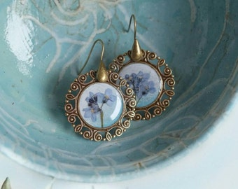 Vergiss mich nicht Blume Ohrringe getrocknete Blume echte blaue Blumen Harz Vintage Ohrringe gedrückt Herbarium botanische Blumengeschenk für ihre memorabl