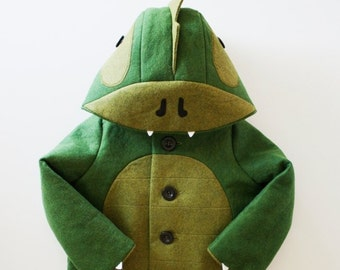 Green Wool Dinosaur Coat