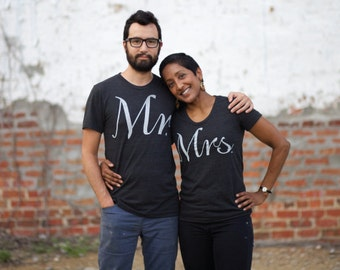 Mr and Mrs Shirts, Wedding Gifts Couples Shirts, His and Hers Matching Tees Anniversary Gift, Bride and Groom Shirts on Black