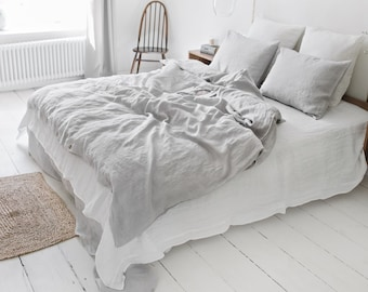 Linen duvet cover in Light Gray. Washed, custom size bed linens.