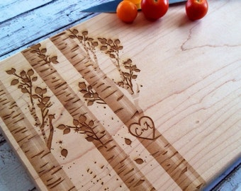 tree intial heart engraved cutting board, personalized cutting board, sweetheart , love gift