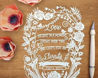 Love is Eternal - Original Custom Papercut - Handcut Paper Art - Wedding/Anniversary Gift