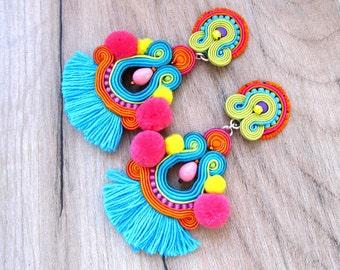 colorful tassel earrings, boho clip on earrings, tribal jewelry, statement soutache earrings, rainbow earrings handmade