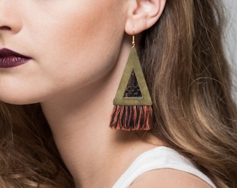 Fringe earrings, lace statement earrings - SAYULITA - Neon or jute fringe tassels geometric triangle ethnic macrame raw brass boho