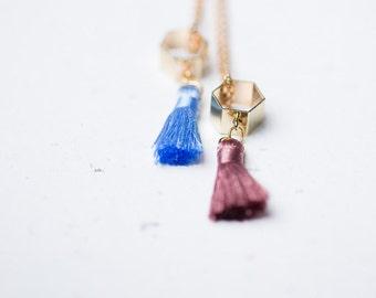 Tassel Necklace Hexagon Pendant Boho Pendant Long Gold Layered Necklace modern geometric minimalist colorful summer jewelry
