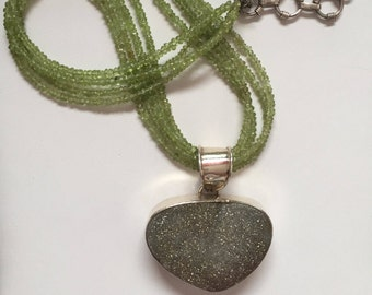 Peridot Necklace with Druzy Pendant and Sterling Silver, Heart Pendant Necklace, Multi-Strand Necklace