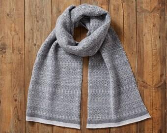 Knit Fair Isle scarf, long scarf, fringed scarf, grey scarf, warm scarf, Fair Isle Scarf, women grey scarf, women's, cozy, winter scarf