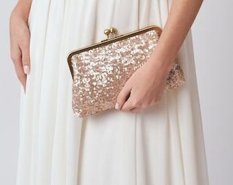 Blush Bridesmaid Clutch Purse   Rose Gold Sequin Clutch   Pink Clutch   Monogram Clutch [Ella Clutch]