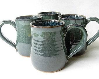 Pottery Mugs 12 oz Set of 4, Set of 4 Coffee Mugs, Set of Handmade Pottery Mugs, Set of 12 oz. Mugs