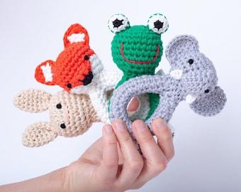rattle, crochet, animal, grey, elephant, toy, organic, baby, lovely, handmade, baby, gift, newborn, organic wool