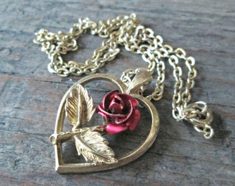 Vintage Rose Necklace, Red Rose Necklace, Heart and Rose Necklace, Mothers Day Gift, Mothers Day, Mothers Jewelry, Mothers Day Jewelry
