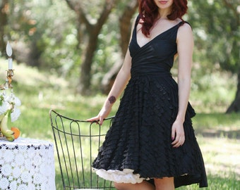 Romantic Black Ruffle Octopus Convertible Wrap Dress-Convert to Backless, Grecian, etc. With full Circle Skirt