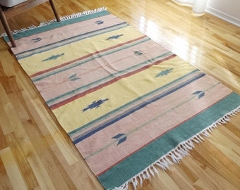 Handwoven Cotton 4 x 6 Area Rug in Pastel Colors - Southwestern / Aztec / Boho Decor