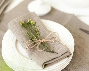 Softened linen napkins set of 6 - Rustic wedding napkins - Organic grey napkin cloths
