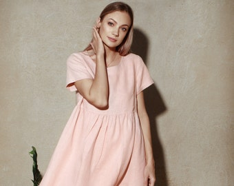 Pink Linen Dress | Dress in Linen | Flax Dress | Summer Dress | Loose-fitting Dress | Loose Fit Dress | Wide Dress | Maternity Dress
