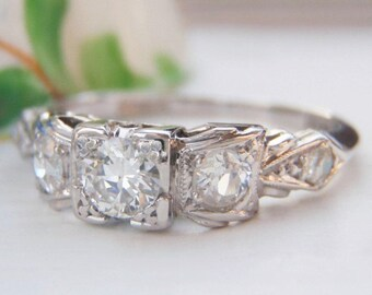 RESERVED Sweet Art Deco Diamond Engagement Ring. Pretty Bow Styled Setting. Quality Solid Platinum. Plump Old European Diamonds.