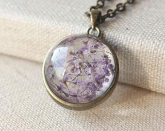 Pressed flower necklace, Dried flower terrarium pendant, lavender pendant necklace, botanical jewelry  N98
