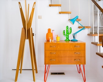 G Plan E Gomme Mid Century Danish Influence Teak Retro Sideboard Cabinet Chest Of Drawers on hairpin legs. Custom orders available.