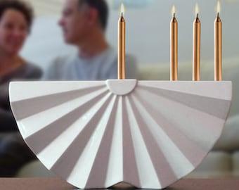 Hanukkah Menorah ,Modern geometric Judaica,White ceramic menorah