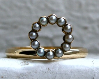 RESERVED - Sweet Antique Pearl Circle Ring in 14K Yellow Gold.