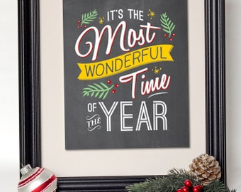 Christmas Wall Art // INSTANT DOWNLOAD // Retro Holiday Print // Printable Christmas Decor // Christmas Sign // Chalkboard // Digital 8x10