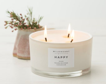 Aromatherapy Vegan Soy Candle  - Rose Happiness Positivity Therapy Benefits