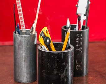 """Large Salvage Structural pipe pencil holder 3-1/2"""" wide 3-6"""" tall"""
