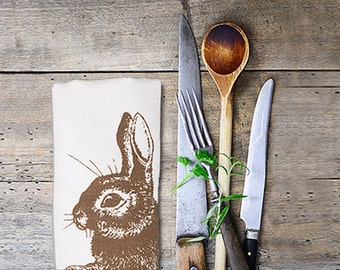 Tea towel with rabbit, screen print, white halflinen