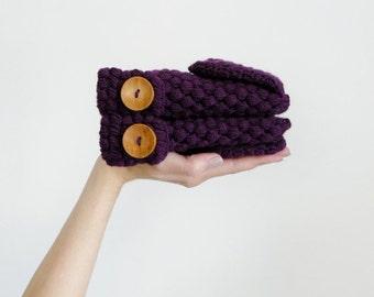 Crochet Convertible Mittens For Women, Violet Winter Accessories, Wool Gloves In Dark Purple