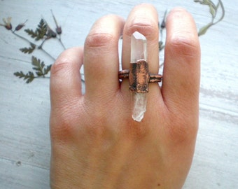 Raw stone ring crystal ring stone ring quartz ring organic stone COPPER statement ring size 6,75 US electroformed handmade jewelry AWillam