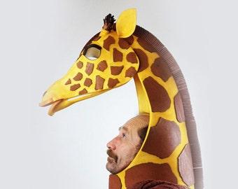 Giraffe costume mask ADULT headdress animal head High style African beastie! Lion King  handmade giraffe masquerade mask for sale.