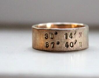 Rustic Solid Gold Latitude Longitude Wedding Band Ring