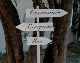 Lot de flèches directionnelles pour mariage PERSONNALISABLES (sans piquet) . Pancarte directionnelle personnalisable pour mariage
