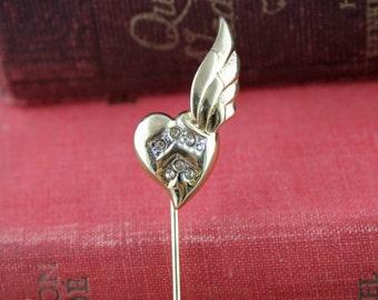 Vintage Rhinestone Heart Stick Pin - D'Orlan Gold Tone Costume Jewelry - Ladies Austrian Crystal Lapel Pin -Retro Dorlan Winged Heart Brooch