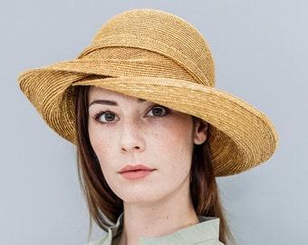 "Capeline, hat, florentine straw, vintage style, gold, summer hat, 20ies style, glamour, ""Maureen"""