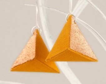 3D Origami Earrings Triangle Yellow Mustard Copper // Pyramid Earrings// Geometrical Shape of Linen And Hooks of Nickel-free Sterling Silver