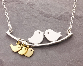 Mothers Necklace, 1-10 kids, mother of the bride, newlywed, mom necklace, love birds necklace, bird necklace, anniversary gifts, N1S
