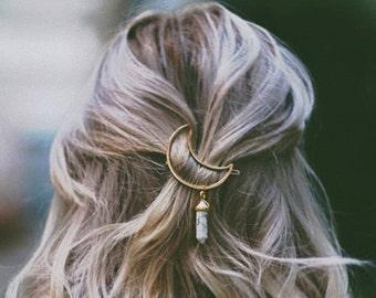 Mond-Haar-Clips Zubehör Crystal Haarspange Frauen Schmuck Tumblr einzigartigen Schmuck Boho Hippie böhmischen Weihnachtsgeschenke für ihr Geschenk