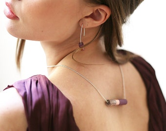 ALMA // copper, purple and marbled brown resin pendant on a silver metal chain or nylon thread