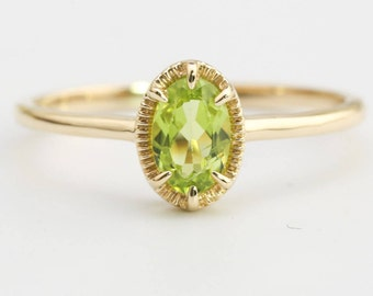 14k gold peridot ring, oval stone ring, august birthstone, gift for her, genuine green peridot