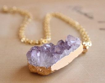 Purple Natural Amethyst Druzy Raw Cut Necklace 24 Carat Gold