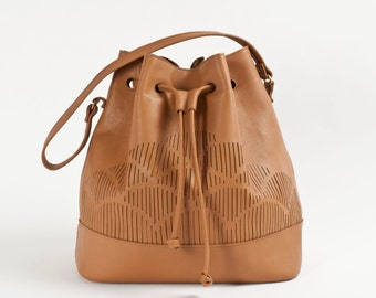 Brown - cut out - bucket bag nappa leather