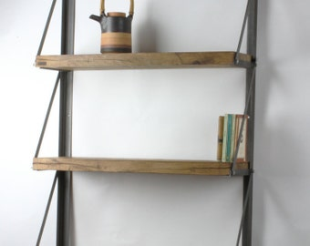 Konk ‖ 'Simple Suspension' Bookcase ‖ Industrial Wall Mounted Oak Shelving ‖ Bespoke sizes available!