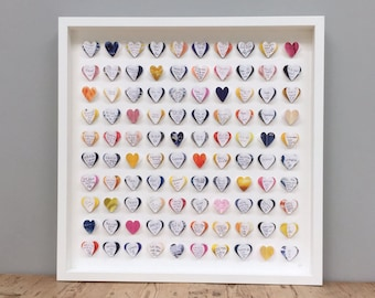 Modern guest book framed wall art- navy yellow pink orange guestbook - 100 hearts - large guest book - wedding guest book alternative.